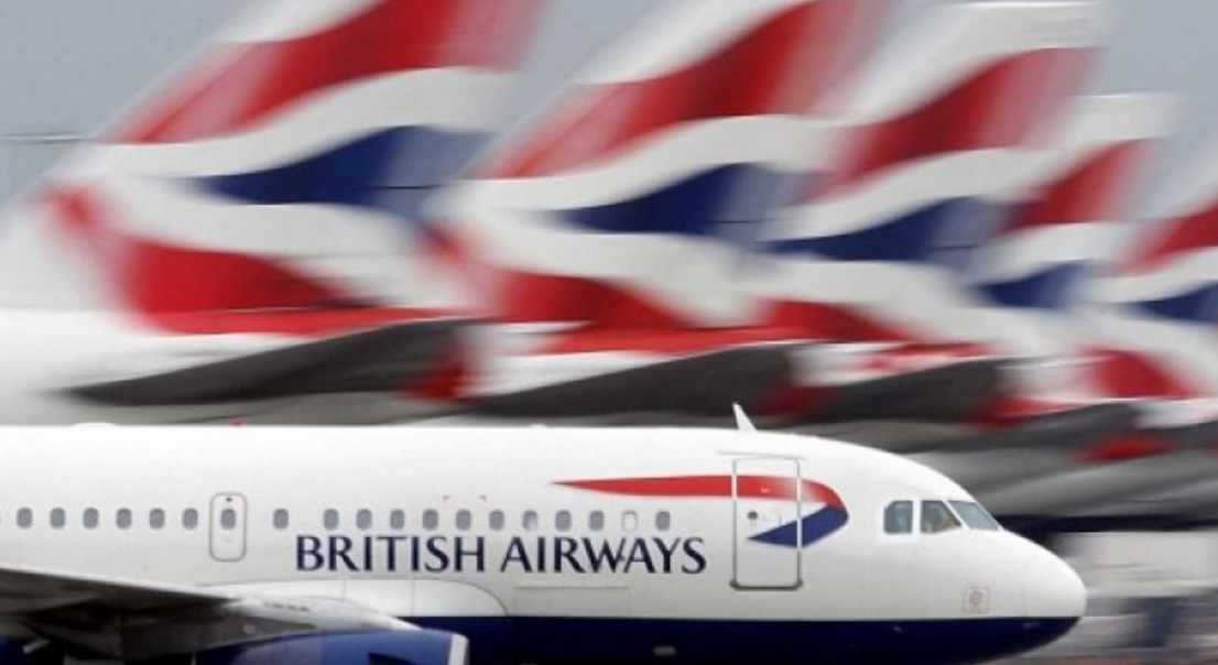 British Airways plane on UK flags backround