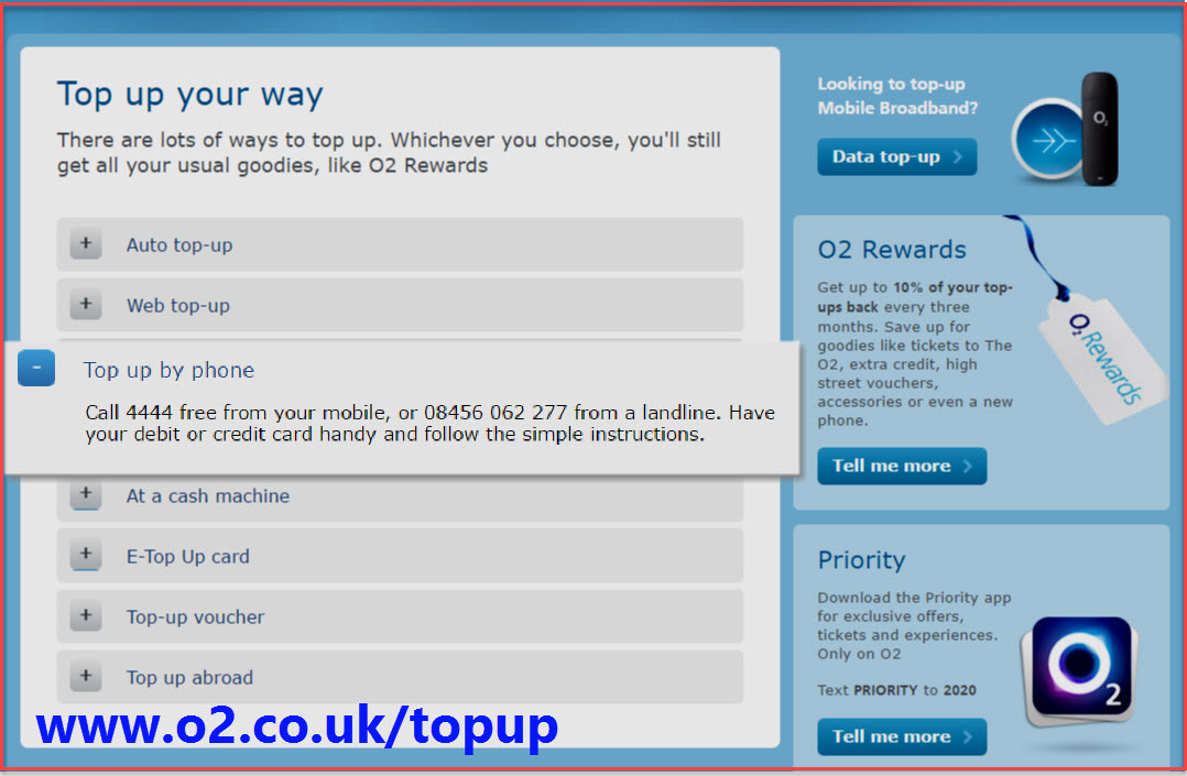 o2 top up phone number