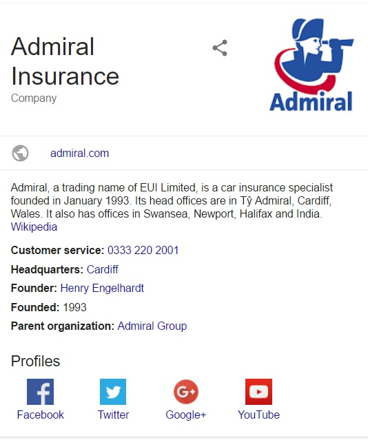 Admiral Contact Information