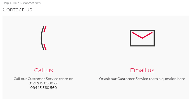 DPD UK contact page