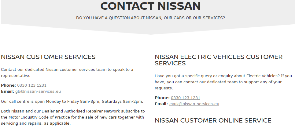 Nissan Customer Service Contact Number 0330 123 1231