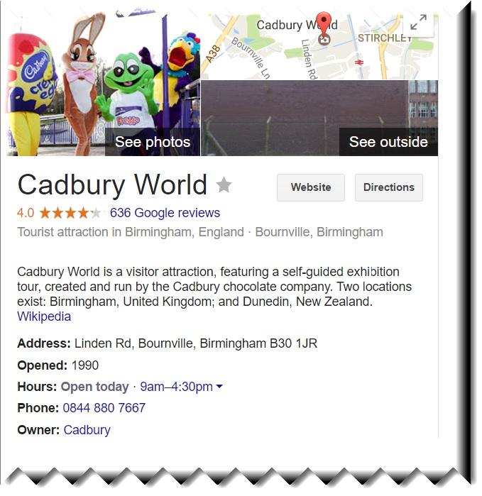 cadbury world contact information