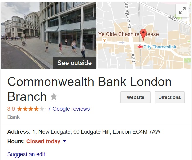 commonwealth bank london branch