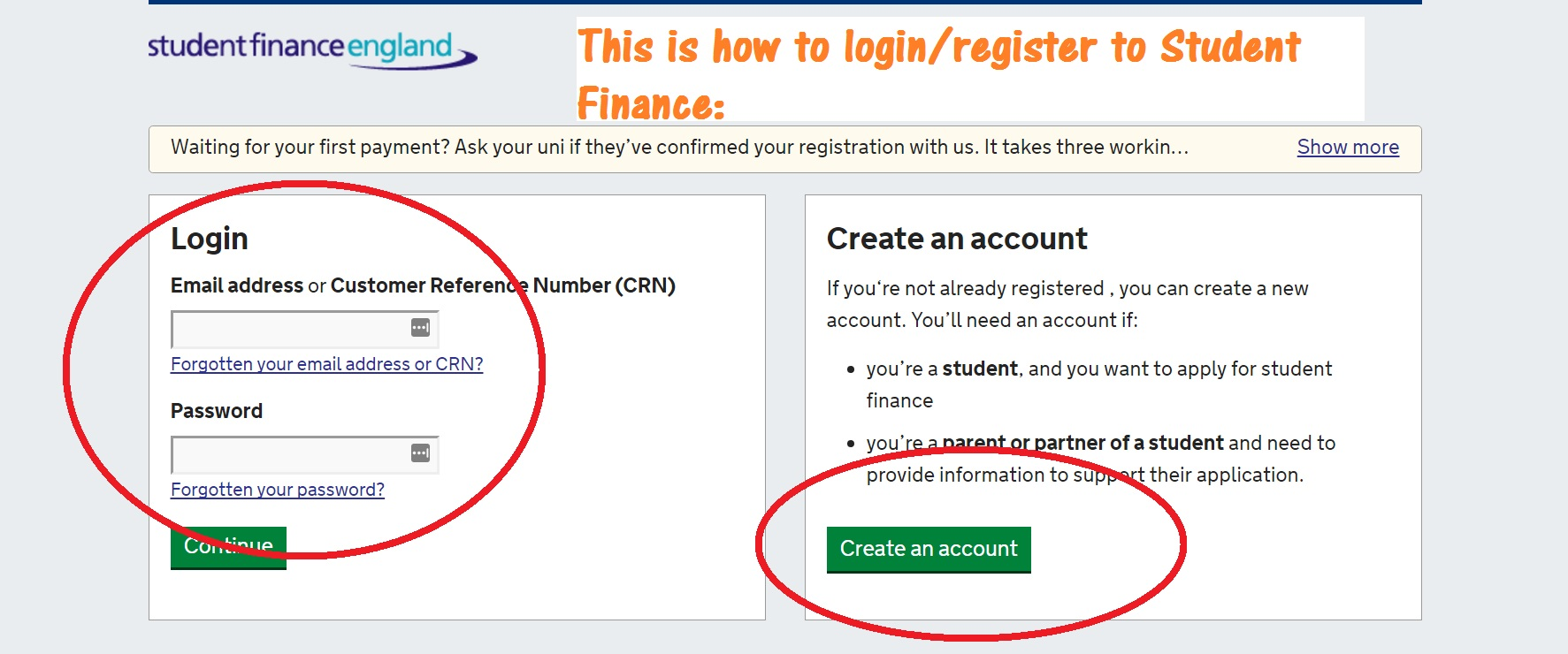 Student finance login