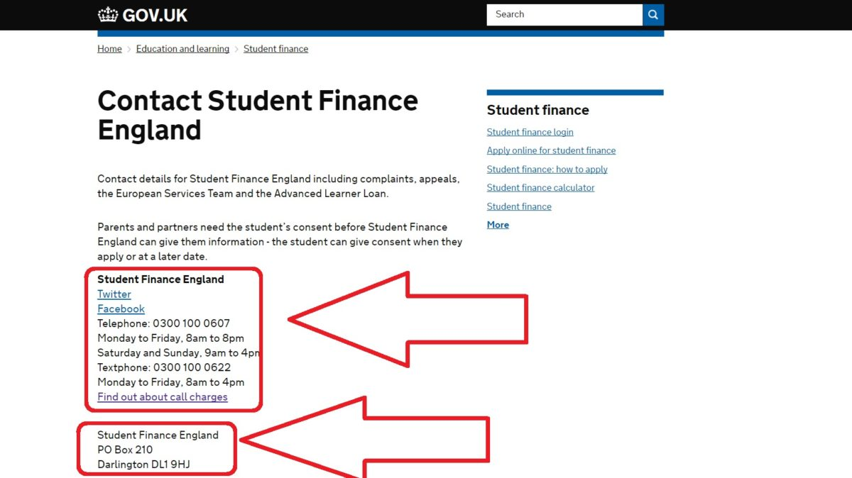Student Finance UK and England Contact Phone Numbers