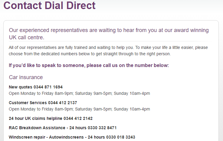 Dial Direct Insurance Customer Service Number Car 0344 412 2137