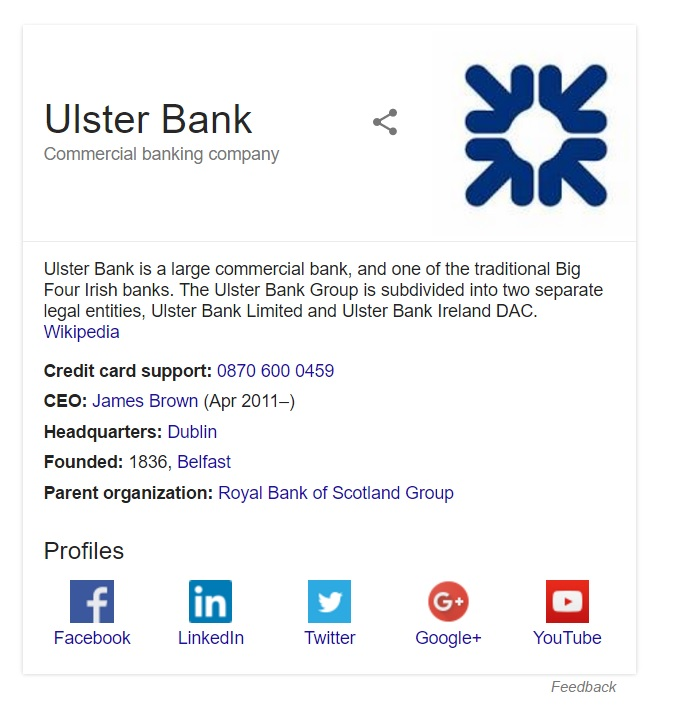 ulster bank contact
