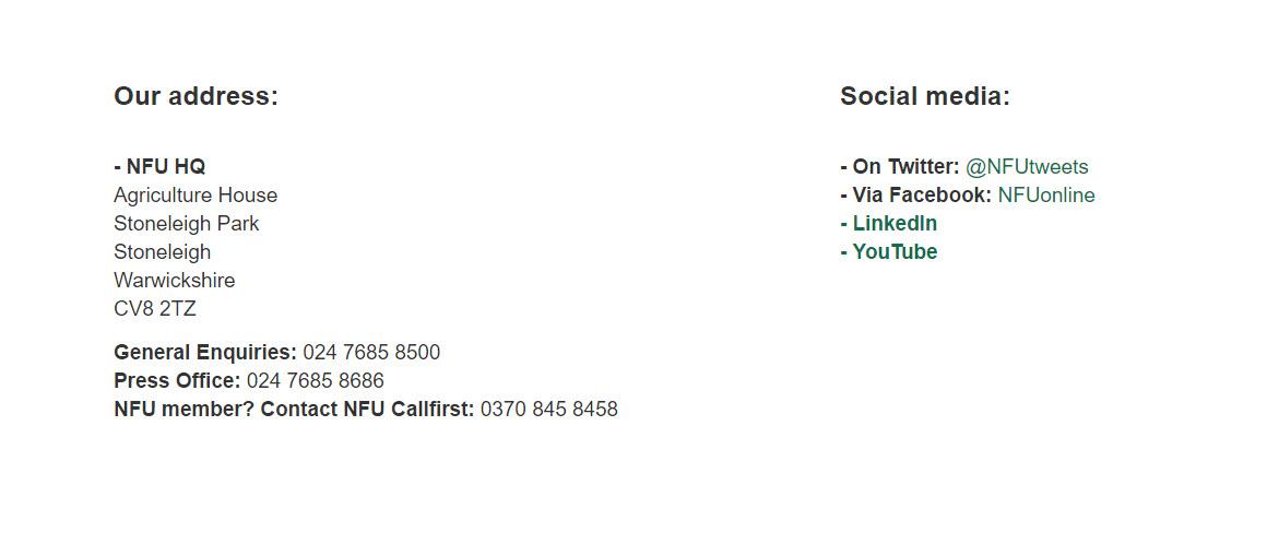 nfu contact details