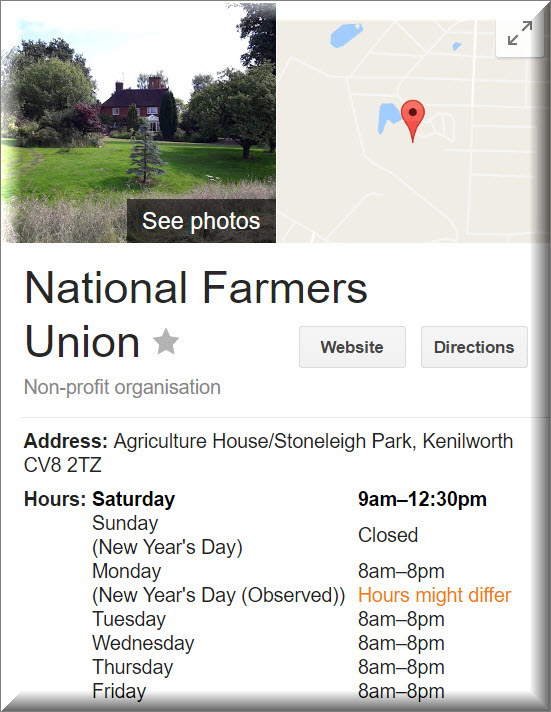 National Farmers Union address and numbers