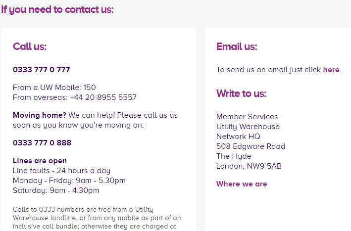 Utility warehouse contact us page