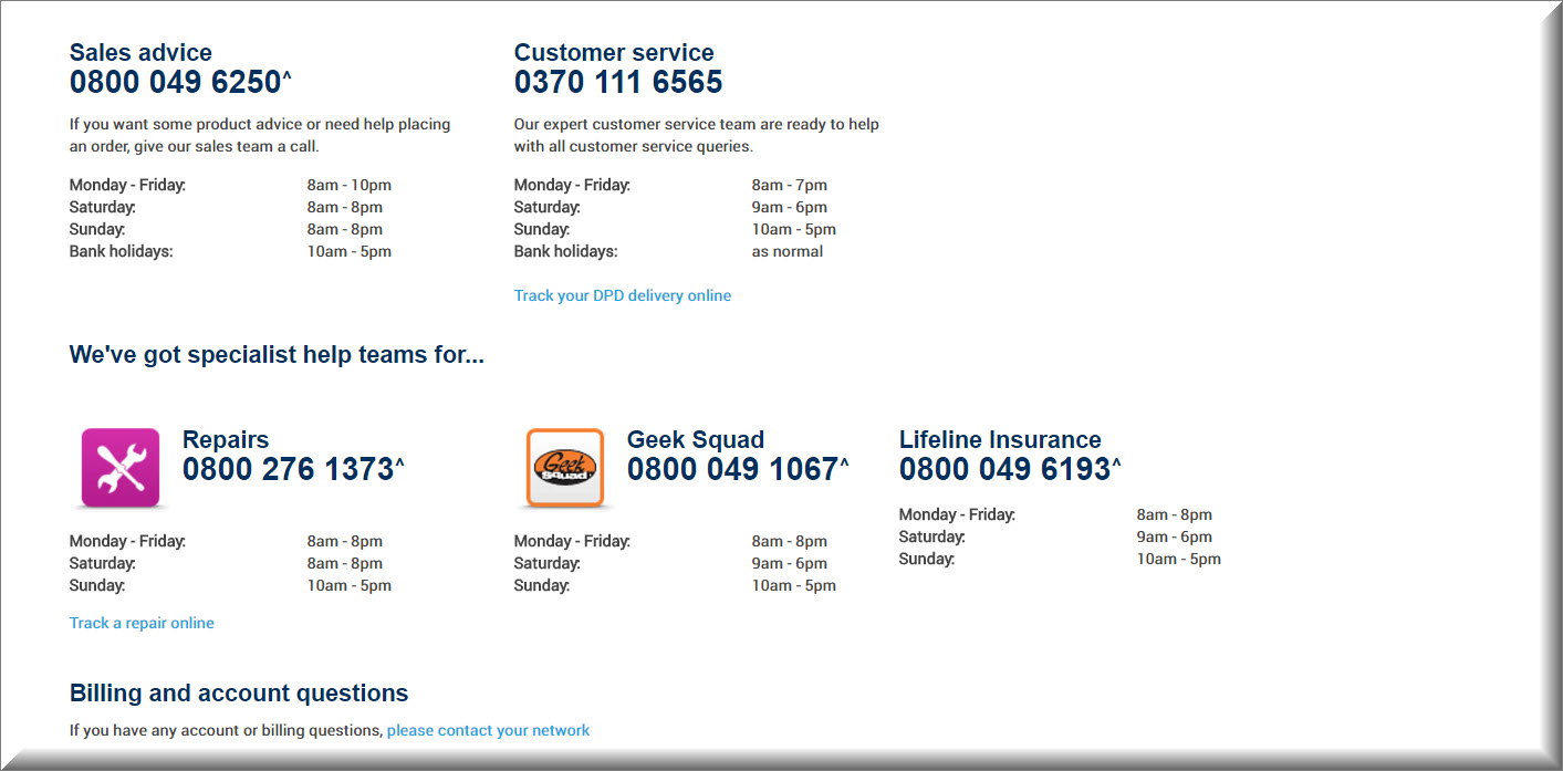 carphone warehouse contact numbers