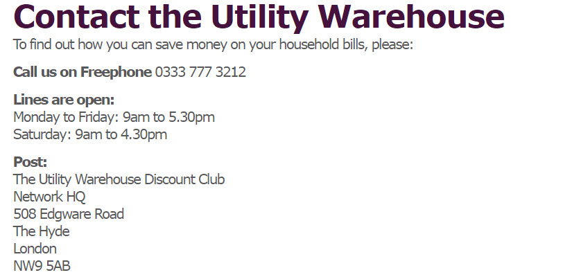 household bills utility warehouse for business