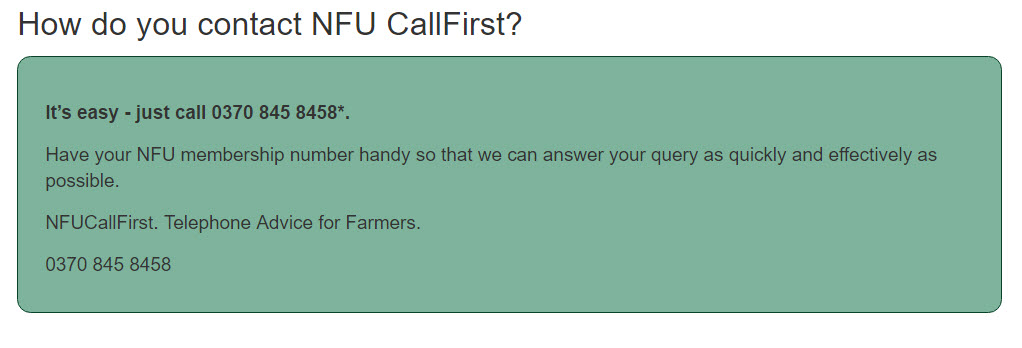 how to contact NFU Callfirst