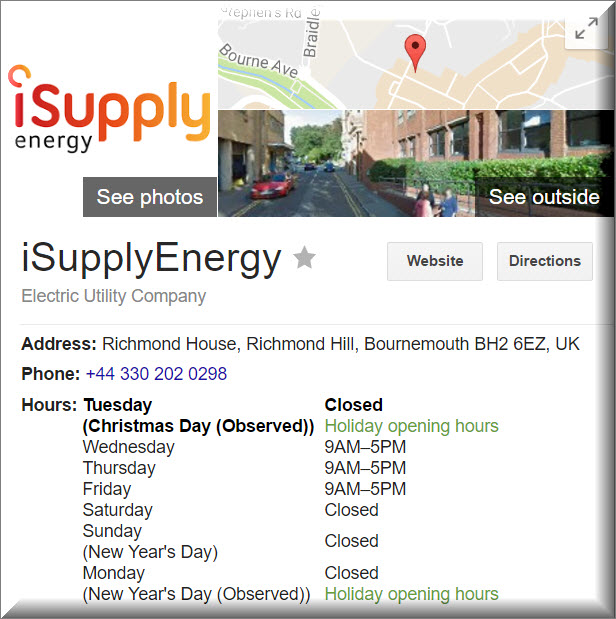 iSupplyEnergy contact information