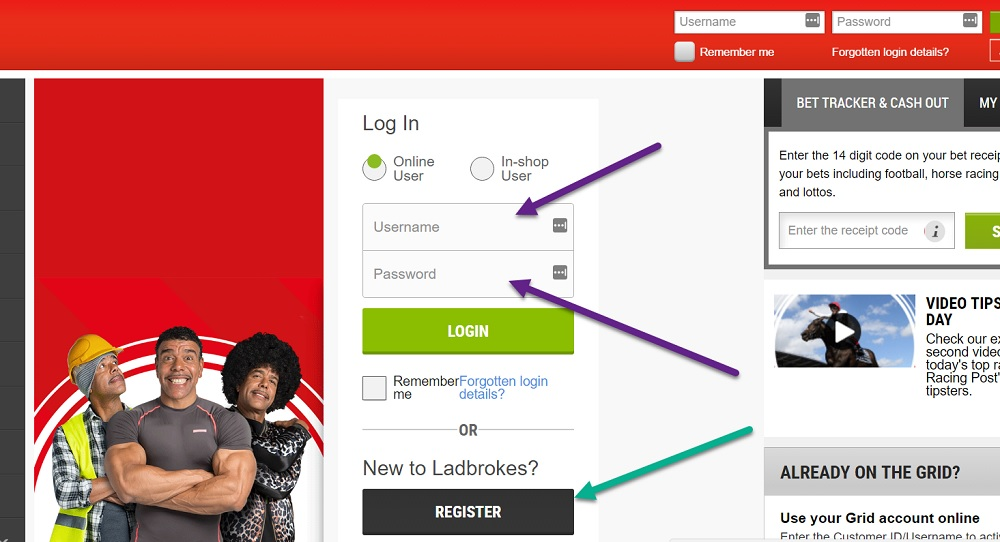ladbrokes login and register