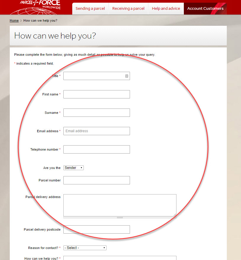 online contact parcelforce