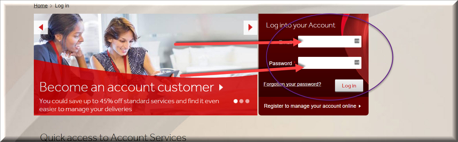 parcelforce login page