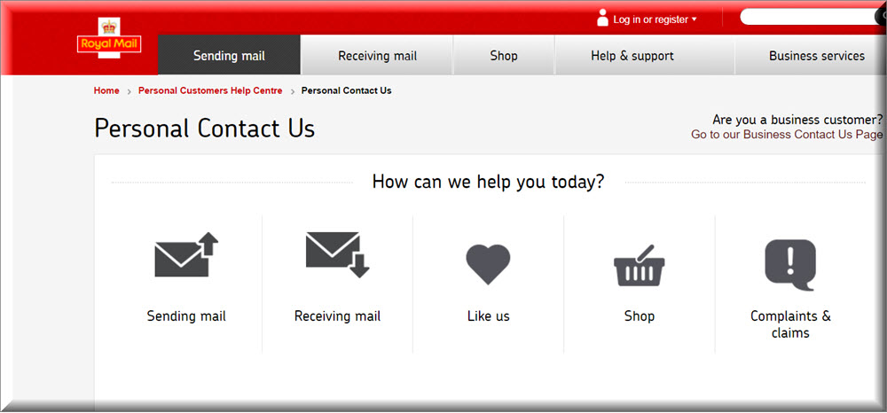 royalmail contact us page