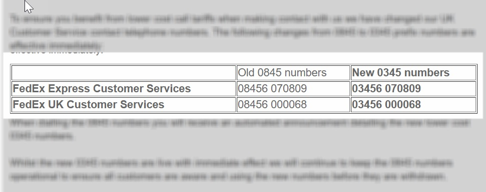 uk fedex customer service numbers