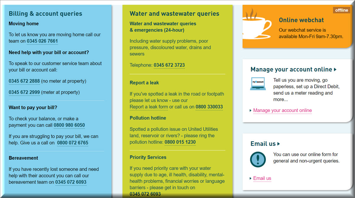 united utilities contact information