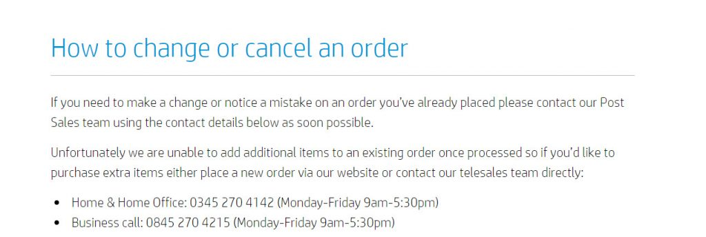 How to cancel HP order - UK Customer Service Contact Numbers Lists
