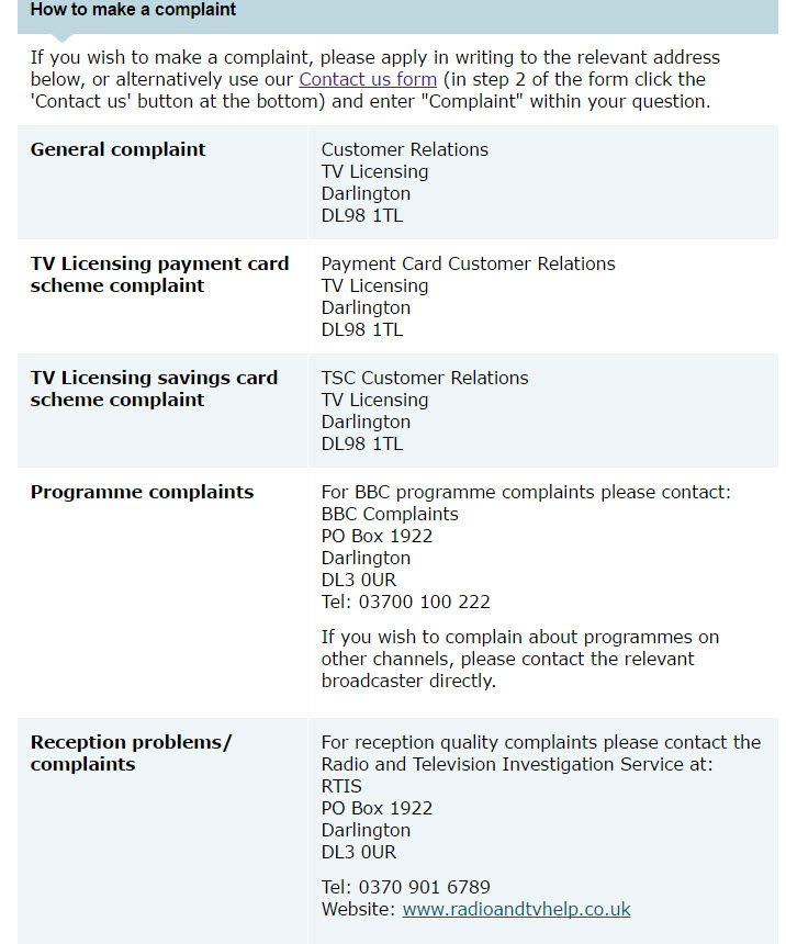 How to make a complaint tvlicensing