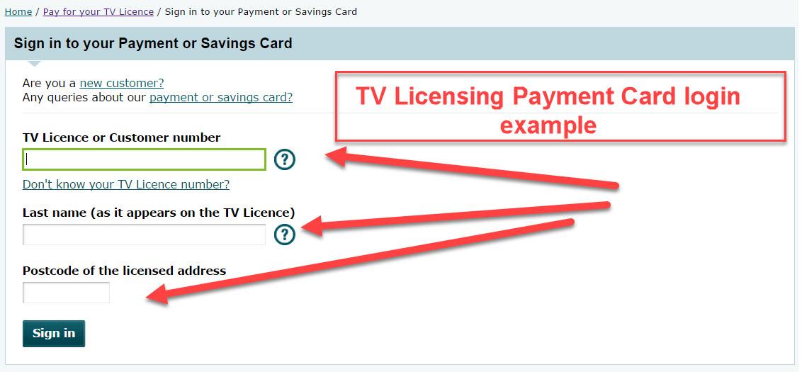 Payment Card login