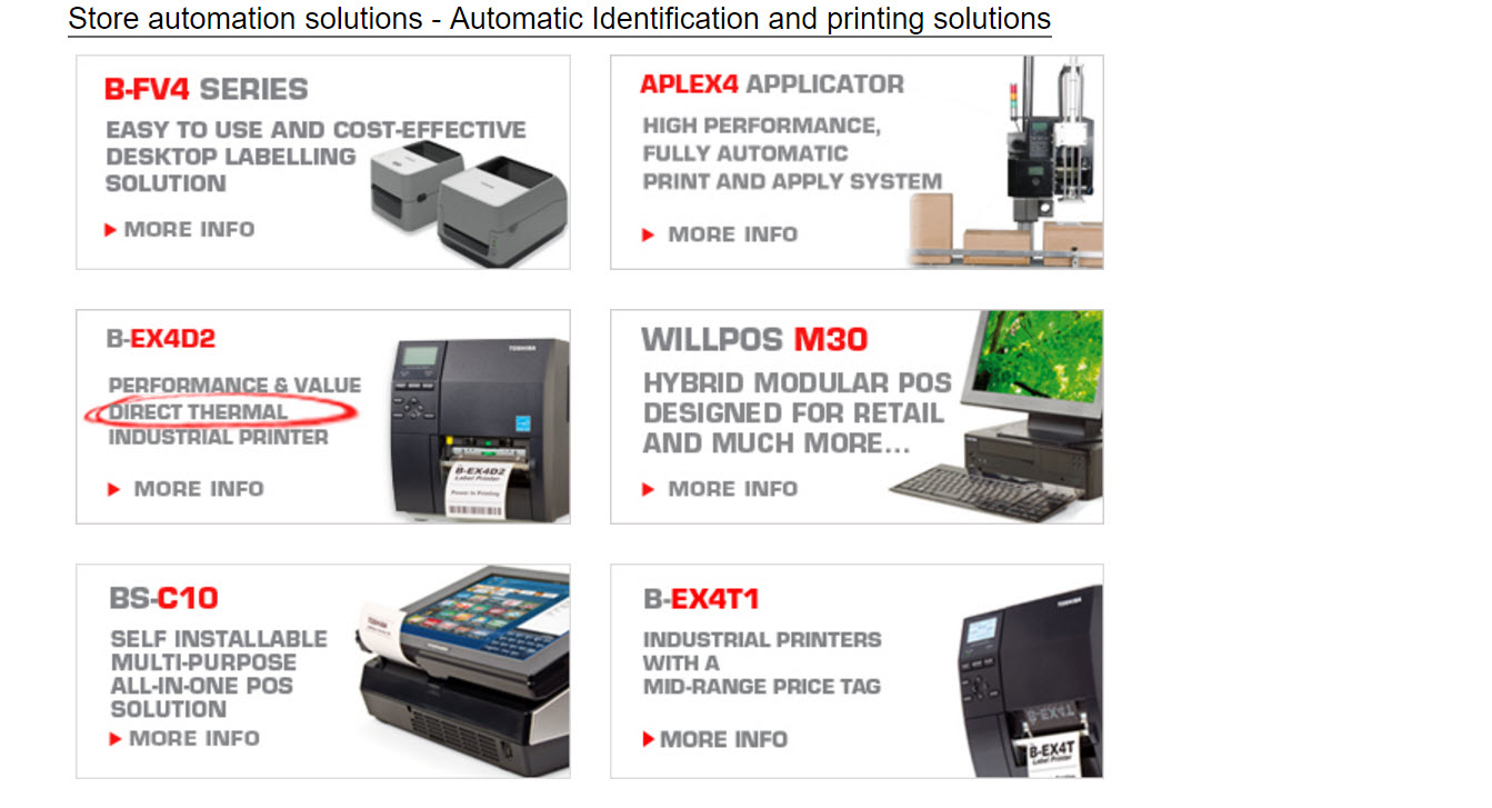 Toshiba Automation and Barcode Printing