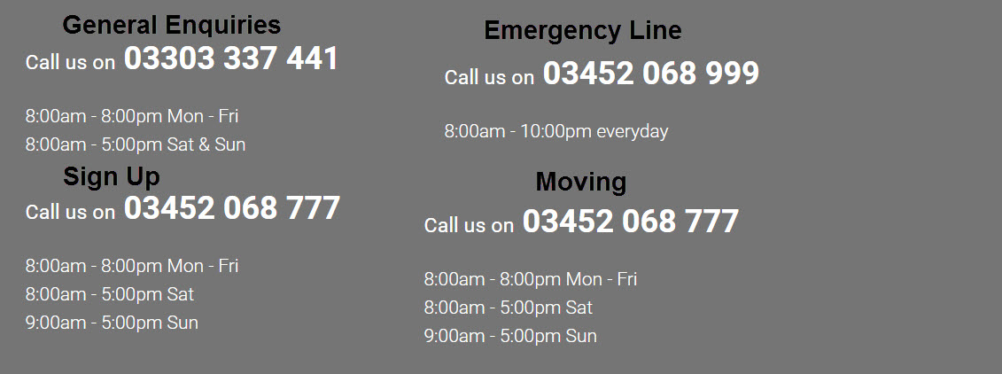 Utilita customer service, emergency and moving numbers