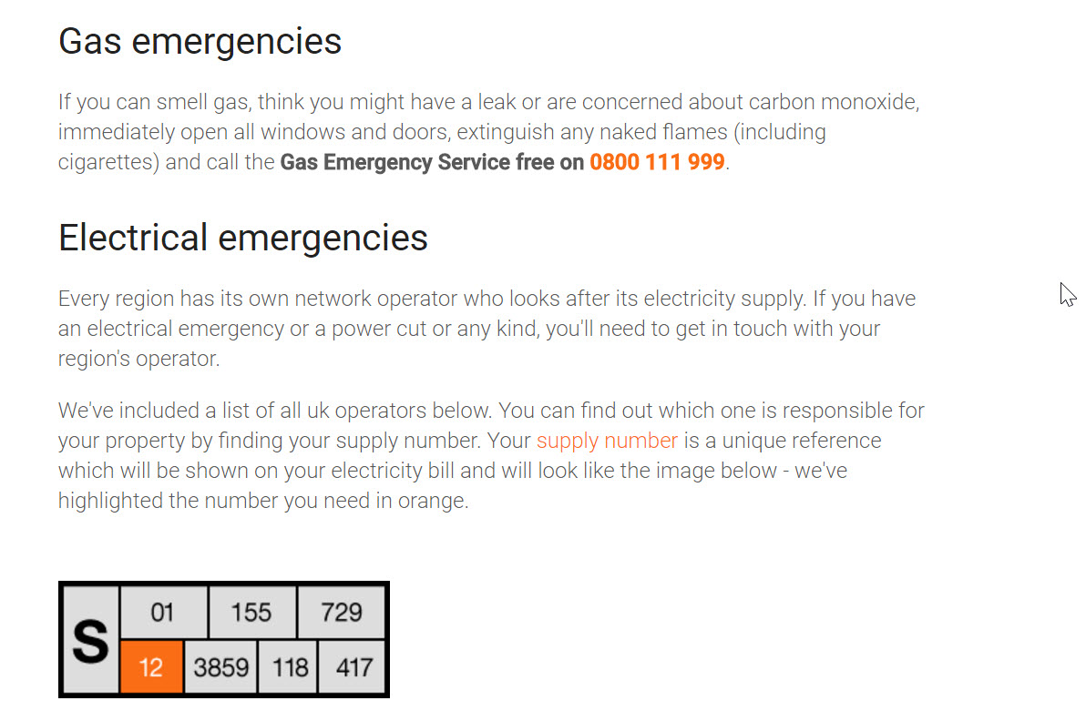 gas and electrical emergencies