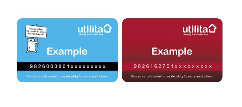 utilita prepaid meter reading cards