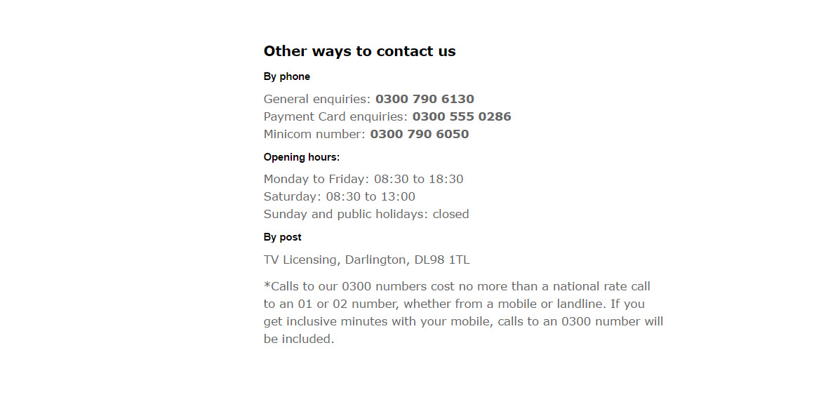 tvlicensing contact numbers
