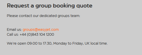 EasyJet Group Booking contact details