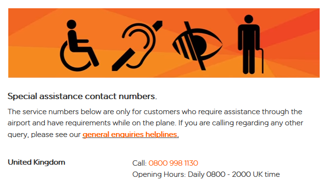EasyJet Special Assisstance Contact Number