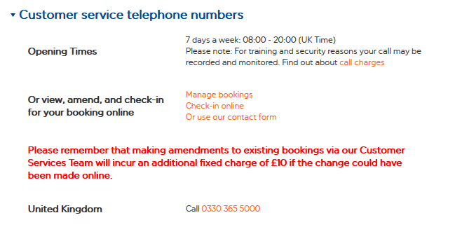 EasyJet Customer service number
