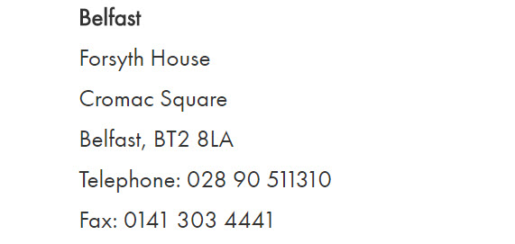 AIG Belfast contact information