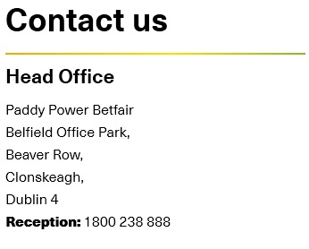 Betfair Head Office Contact Information