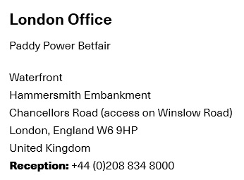 Betfair London Office Contact Information