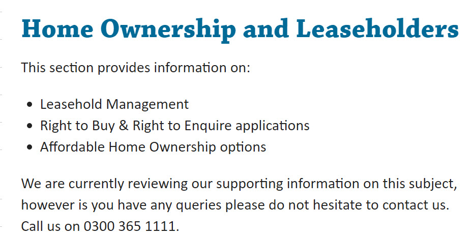Home Ownership and Leaseholders number