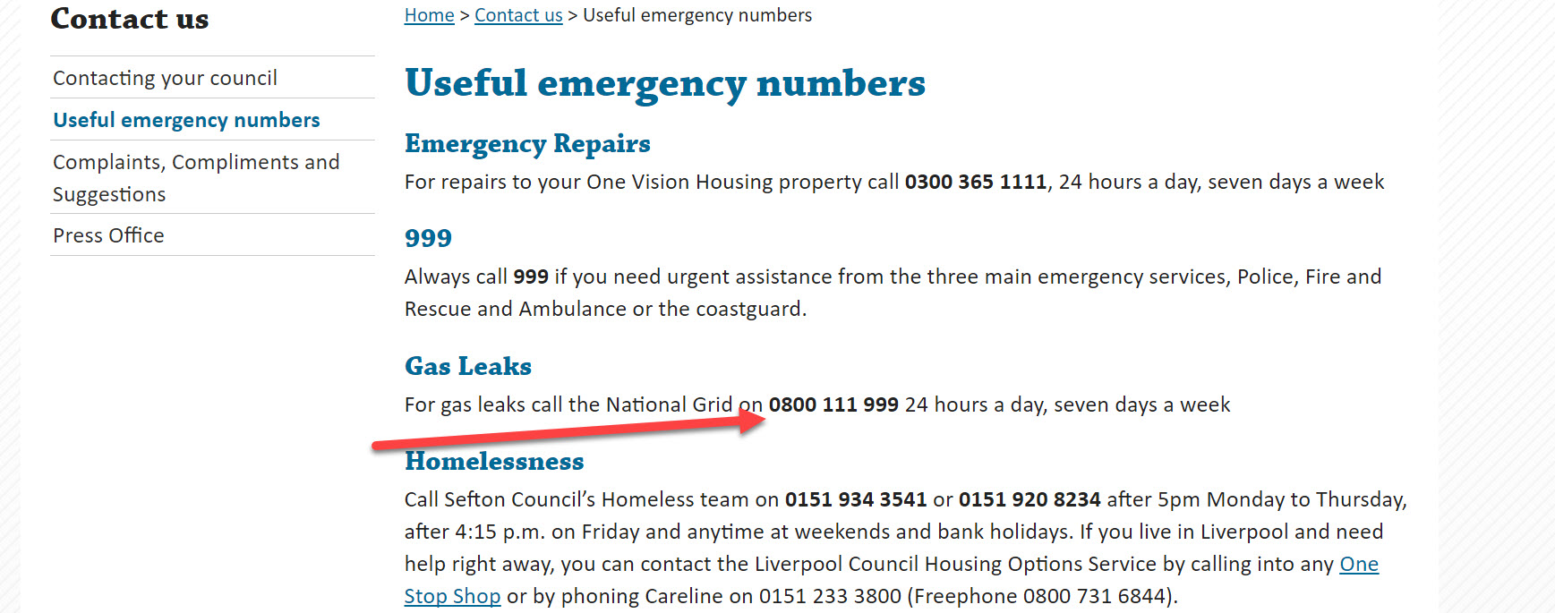 one vision housing gas leak number