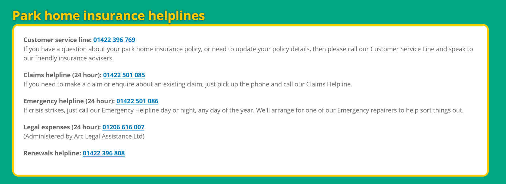 Park home insurance helplines