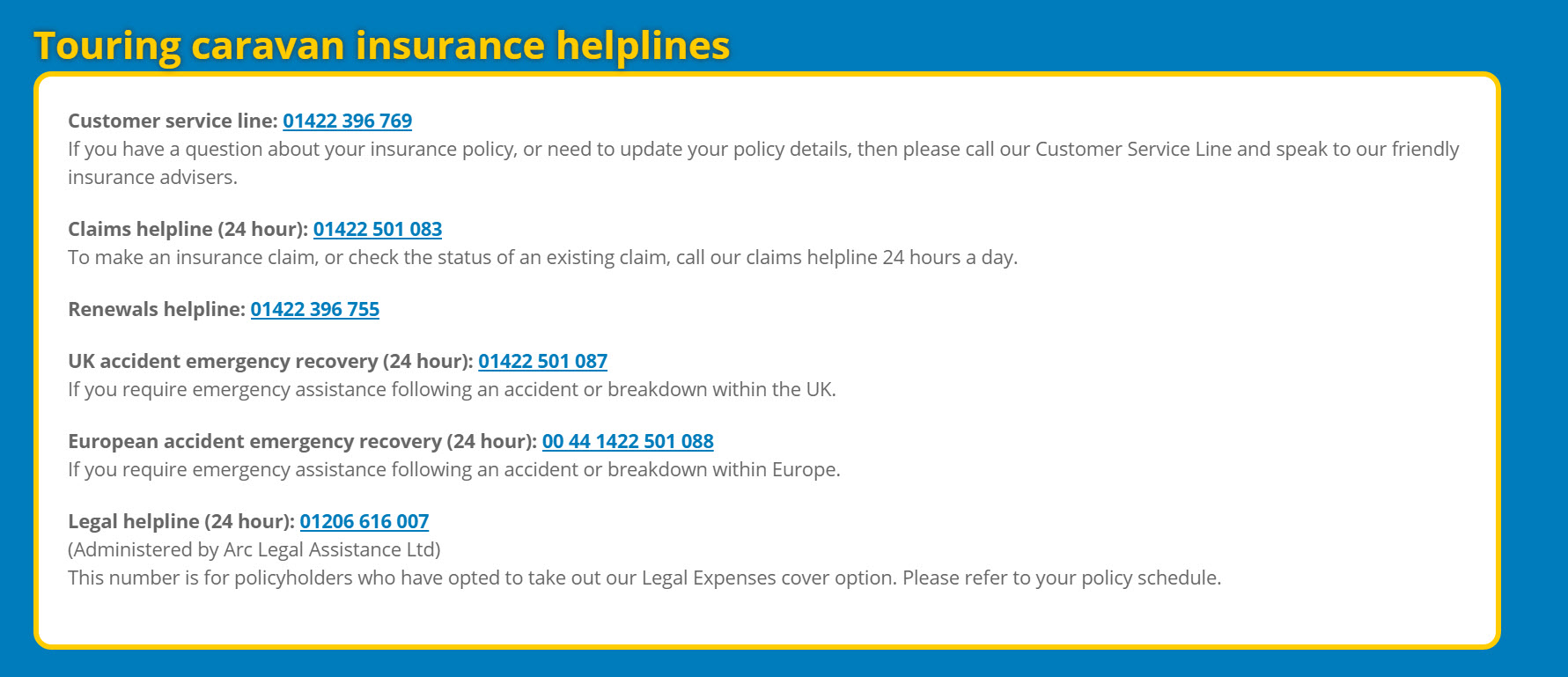 Touring caravan insurance helplines