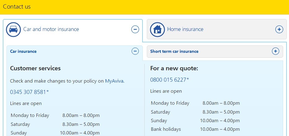 aviva contact us page