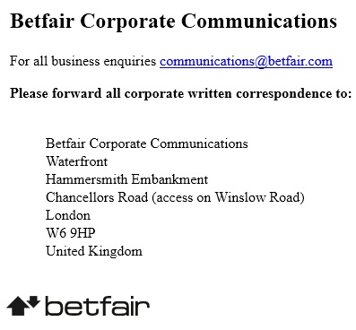 betfair Corporate Communication