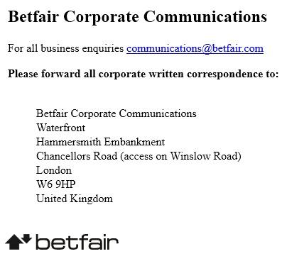 betfair Corporate Communication