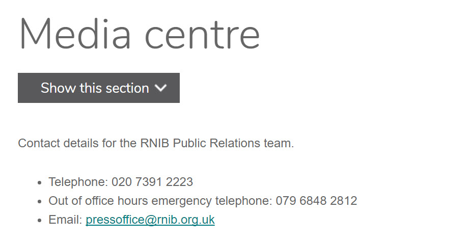 rnib Media centre number