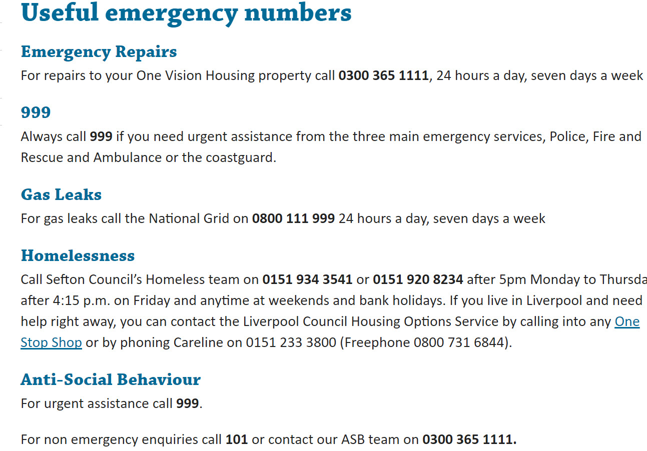 useful One Vision Housing numbers