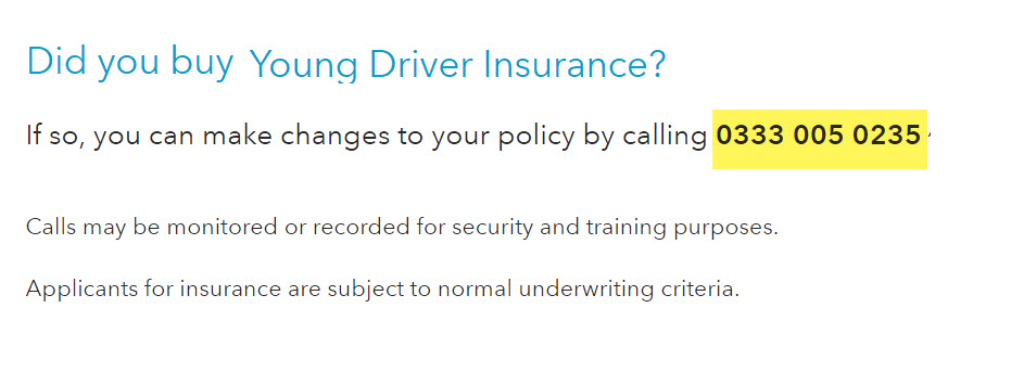 young driver insurance number co-op