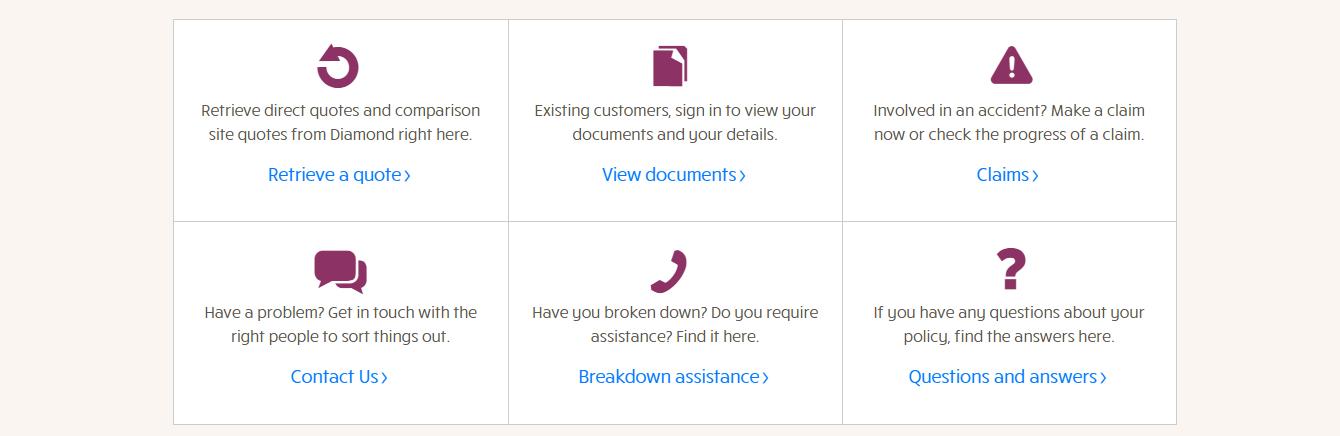 Diamond Insurance contact page