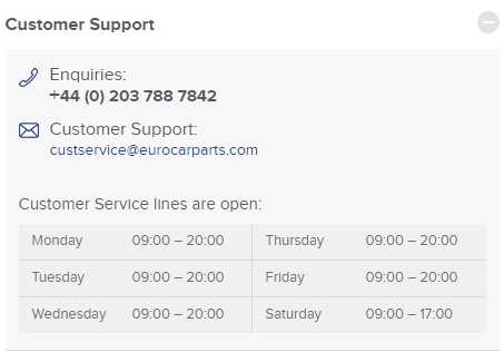 euro car parts customer service